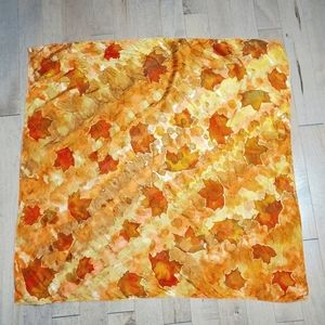 Hand painted silk scarf with automn leaves